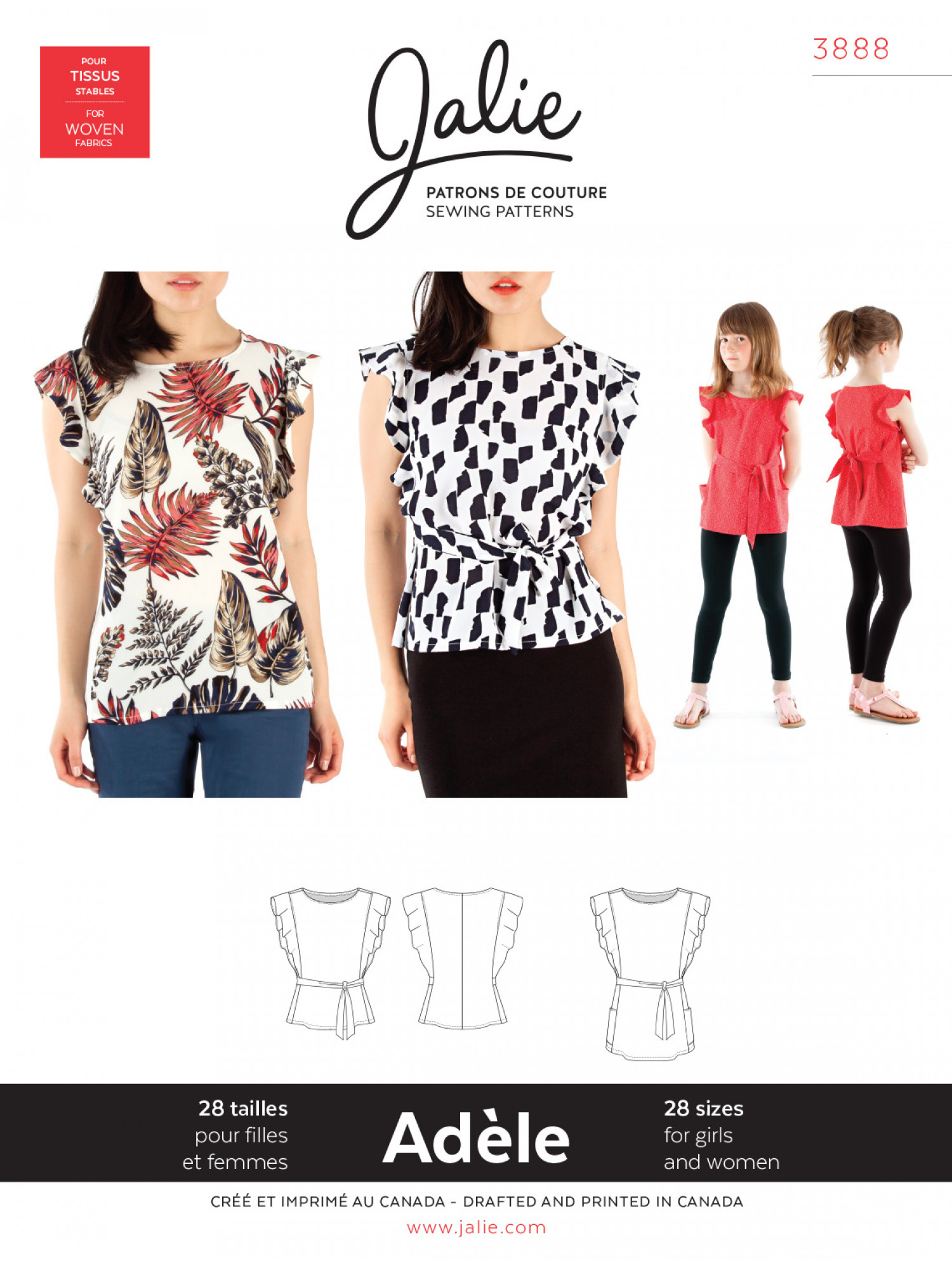 20d0c373b0b Jalie Patterns - Adele Flutter Sleeve Top and Tunic #3888 - Women/Girls  Sizes
