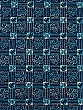Navy Blue/Soft Green/Apricot 100% Cotton Hibiscus Batik-look Lawn Shirting - NY Designer - 58W