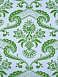 "Sky Blue/Leaf Green 100% Cotton ""Lilly"" Scroll Print Quilt Weight Cotton - Jennifer Paganelli - 44W"