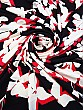 Black/White/Red Polyester/Lycra Shadow Floral ITY Knit - Famous Dress Designer - 58W