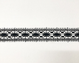 "Black Stained Glass-look Venise Lace Trim - High-end Designer - Label - 1 1/2"" W"