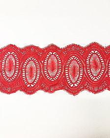 "Red Coral Circular Raschel Lace Trim - High-end Designer Label - 4 1/2"" wide"