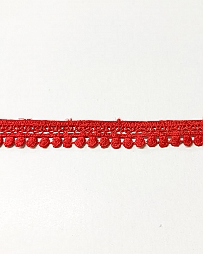 "Red Coral Circle Tassel Edging Lace Trim - High-end Designer Label - 5/8"" wide"