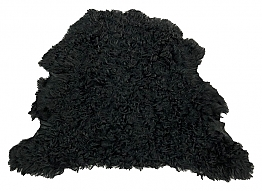 Black Curly Fur Leather Skin - J. Crew