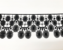 "Black Daisy Large Edging Lace Trim - 6"" - High-end Designer Label"