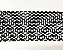 "Black Interlocking Lattice Lace Trim - 7 1/4"" - High-end Designer Label"