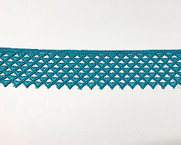 "Teal Green Deco Wide Edging Lace Trim - 2 1/4"" - High-end Designer Label"