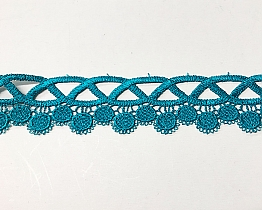"Teal Green Lattice Dangle Dot Lace Trim - 1 1/2"" - High-end Designer Label"