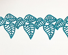 "Teal Green Palm Leaf Lace Trim - 3"" - High-end Designer Label"
