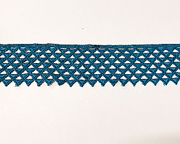 "Ocean Teal Deco Wide Edging Lace Trim - 2 1/4"" - High-end Designer Label"