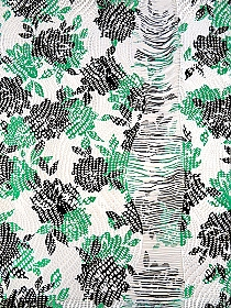 Kelly Green/White/Black 100% Polyester Single Fringe Border Floral Print Lace Knit 59W