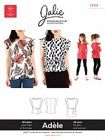 Jalie Patterns - Adele Flutter Sleeve Top and Tunic #3888 - Women/Girls Sizes