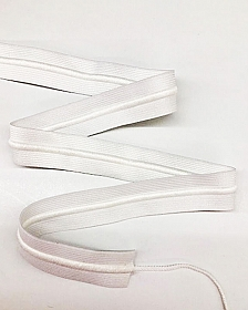"1 1/4"" White Drawstring Cord Elastic - SOLD BY THE YARD"