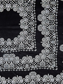 SOLD BY THE PANEL ONLY - Black/Soft White 100% Silk Lace Handkerchief Design Charmeuse - NY Designer - 55W