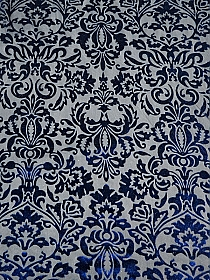 Royal Blue/Black Polyester/Lycra Damask Burnout Velvet Knit 56W
