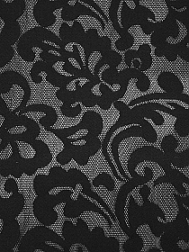Black 100% Polyester Scrolls Design Spacer Double Knit Netting - NY Designer - 58W