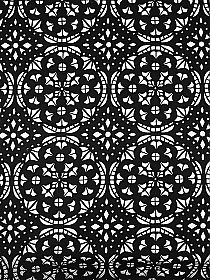 Black/White 100% Polyester Laser Cut Medallion Scuba Knit With Netting - NY Designer - 62W