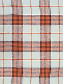 Marmalade/Maroon/White Linen/Cotton Plaid Yarn-Dyed  Woven 57W