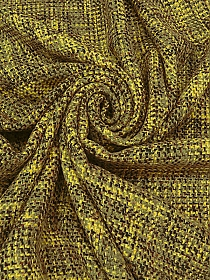 Brown/Canary Yellow/Avocado Wool/Acrylic Boucle Coating - Imported From France - 63W