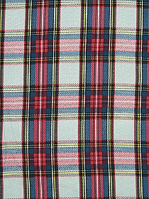 Candy Red/Admiral Blue/Black/Yellow/Icy Blue 100% Rayon Plaid Challis 56W