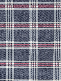 Dark Muted Blue/Muted Ice Blue/Fog White/Soft Red 100% Cotton Plaid Double-Weave Woven - NY Designer - 56W