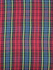 Candy Red/Navy/Muted Sky Blue/Marigold/Green 100% Cotton Plaid Mid-weight Woven - NY Designer - 60W