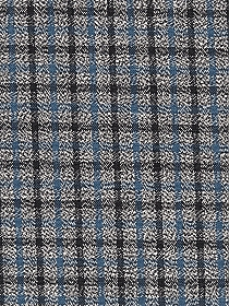 Shadow Gray/Off-White/Moonstone Blue 100% Cotton Small Plaid Yarn-Dyed Shirt-Weight Woven - NY Designer - 46W