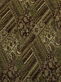 Brown/Hunter Green/Black/Beige Polyester/Nylon/Wool Ornate Paisley Design Chenille Jacquard Suiting - NY Designer - 48W