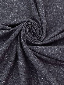 Heathered Muted Navy 100% Cotton Herringbone Tweed Suiting - NY Designer - 48W