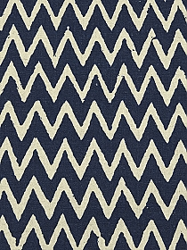 Navy/Natural Linen/Cotton Mid-Weight Chevron Woven - NY Designer - 44W