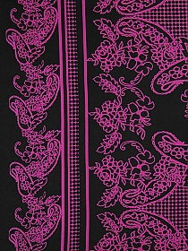Black/Magenta Pink Polyester/Lycra Large Double Border Paisley Print Sweater Knit 58W
