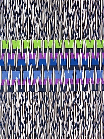 SOLD BY THE PANEL ONLY - Navy Blue/White/Lime Green/Purple Plum Cotton/Lycra Overlapping Abstract Print Stretch Sateen - Imported From Italy - 58W