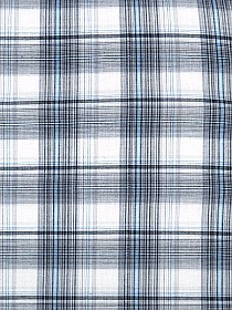 Black/Azure/Gray/White 100% Cotton Plaid Yarn-Dyed Voile 58W