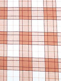 Salmon/Red/White 100% Cotton Plaid Yarn-Dyed Voile 58W