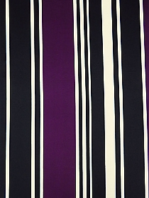 Aubergine/Black/Ivory Polyester/Lycra Large Vertical Mirrored Stripe Print DTY Knit 58W