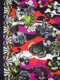 Fire Flame/Black/Royal Fuchsia/White/Spring Green Polyester/Lycra Double Border Abstract Floral Print Mesh Knit 58W