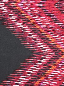 Deep Red/Magenta/Black/Off-White Polyester/Lycra Large Zig Zag Print Hacchi Sweater Knit 59W