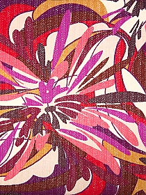 Champagne Pink/Burgundy/Royal Fuchsia/Byzantium Polyester/Lycra Abstract Bursts Print Open Weave Knit 58W