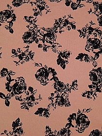 Dusty Coral Pink/Black Polyester/Lycra Flocked Floral Scuba Knit 61W