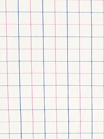 Off-White/Pink/Blue 100% Silk Windowpane Plaid Broadcloth 58W