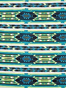 Lime/Teal/Black/Soft White 100% Rayon Horizontal Aztec Stripe Print Jersey Knit 62W