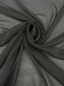 Iron Gray 100% Silk Chiffon - High-end Designer Label - 42W