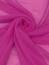 Royal Fuchsia 100% Silk Chiffon - High-End Designer Label - 42W