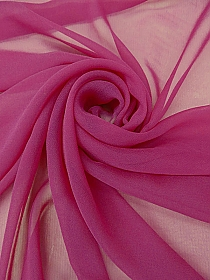 Berry Pink 100% Silk Chiffon - High-End Designer Label - 44W