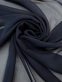 Navy 100% Silk Chiffon - High-End Designer - 45W