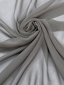 Mouse Gray 100% Silk Chiffon - High-End Designer Label - 42W