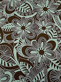 Dark Brown/Sea Green Cotton/Lycra Abstract Floral Stretch Poplin Shirting 48W