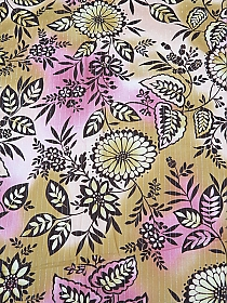 Dark Brown/Sunset Peach/Cameo Pink/Cream Cotton/Metallic Abstract Floral Voile 54W