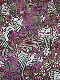 Titanium White/Hot Pink/Palm Leaf/Multi 100% Silk Bird & Floral Chiffon - NY Designer - 57W