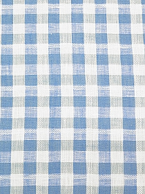 Cerulean Frost/Pale Robins Egg Blue/White 100% Linen Gingham Handkerchief Linen - Imported From Italy - 58W